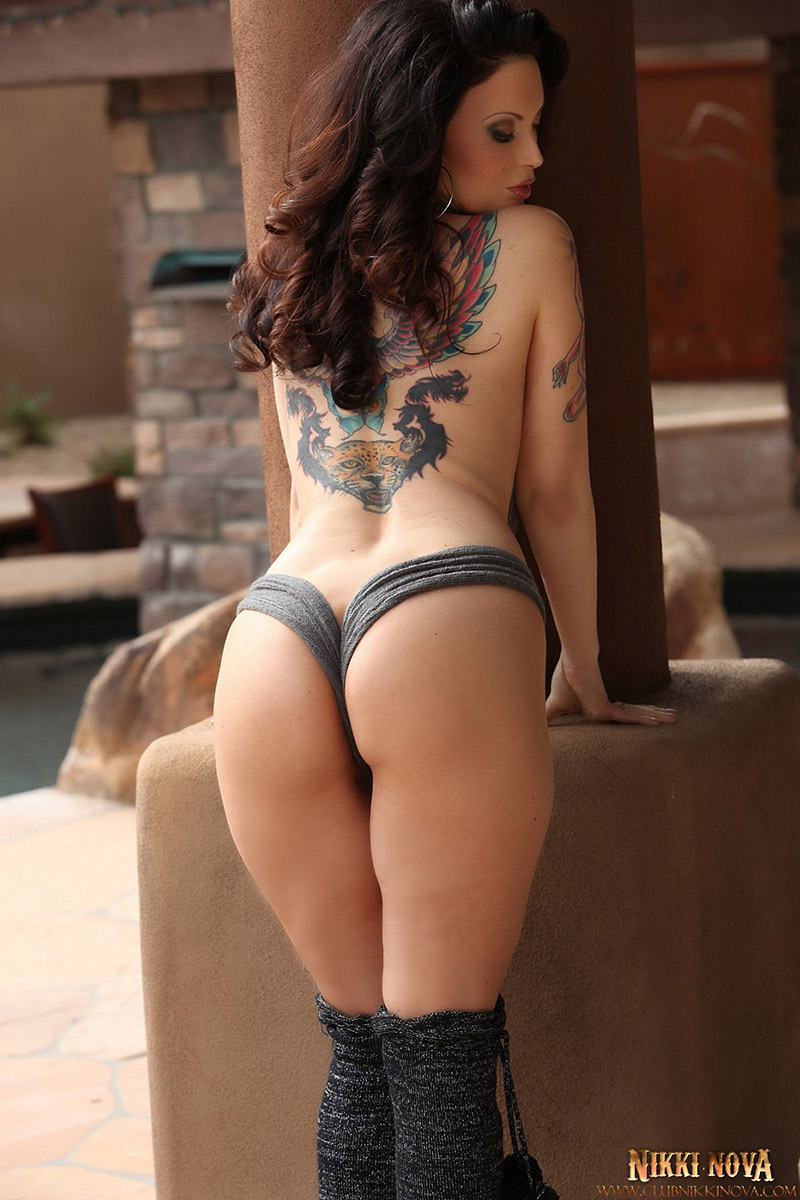Tattooed busty babe got nailed in doggy 5